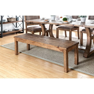 Furniture of America Sail Rustic Pine Fabric Padded Dining Bench