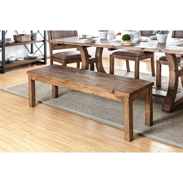 Furniture Of America Matthias Industrial Rustic Pine Dining Bench