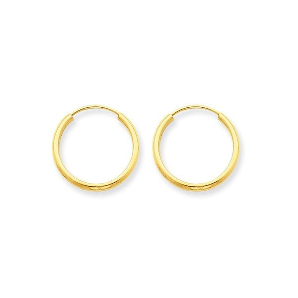 14k Yellow White Gold 1.5mm Thick High Polish Endless Hoop Earrings 25mm Diam