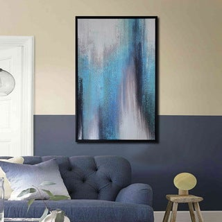 Framed prints with hand painted texture 'Abstract Blue Tone-1' Gallery-wrapped Canvas Art Set
