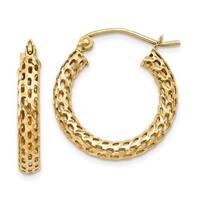 14 Karat Mesh Hoop Earrings