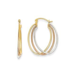 14 Karat Tri Color Hoop Earrings