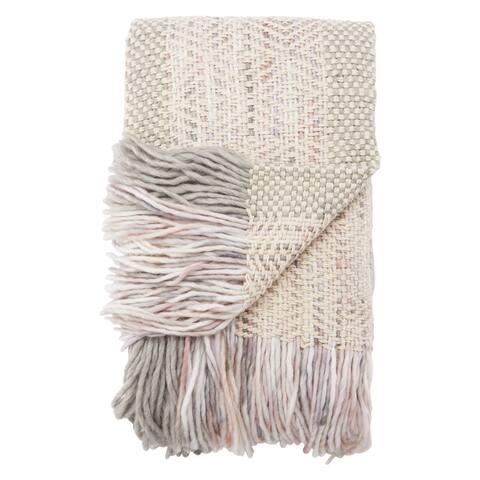 Ophelia Knit White/ Gray/ Pink Throw