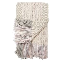 Ophelia Knit White/ Gray/ Pink Throw