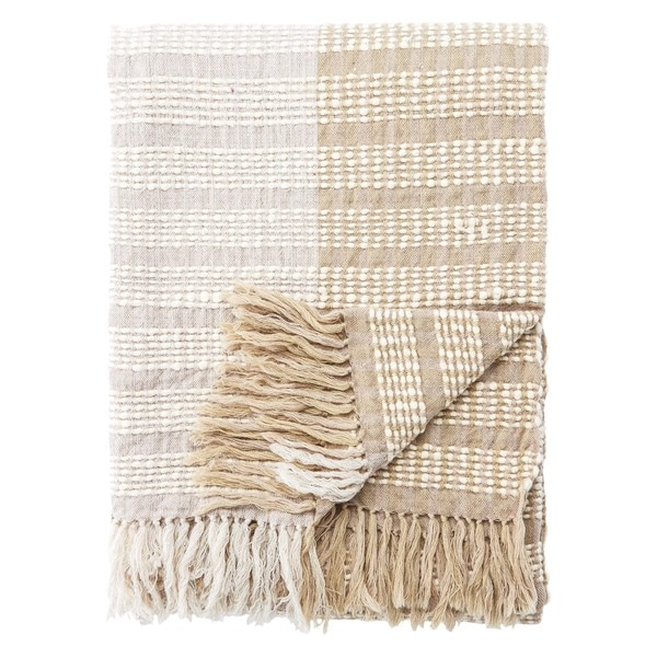 Isla Ticking Stripe Taupe Throw