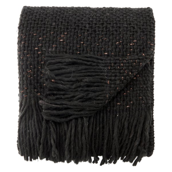 Nikki Chu by Jaipur Living Zara Chunky Knit Black/ Copper Throw