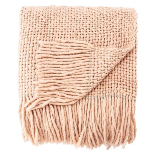 Nikki Chu by Jaipur Living Zara Chunky Knit Rose/ Silver Throw