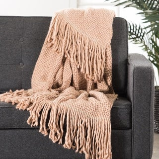 Nikki Chu by Jaipur Living Zara Chunky Knit Rose/ Silver Throw