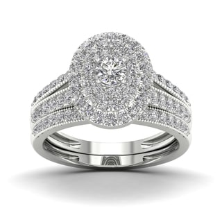 De Couer 1ct TDW Halo Diamond Double Halo Bridal Ring White
