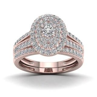 De Couer 1ct TDW Halo Diamond Double Halo Bridal Ring