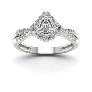 De Couer 1/3ct TDW Diamond Halo Engagement Ring - White