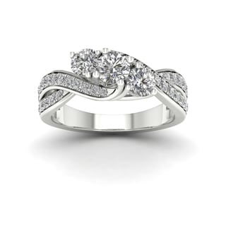 De Couer 1ct TDW Diamond Three Stone Engagement Ring - White
