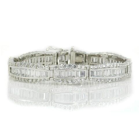 Michael Valitutti Sterling Silver Baguette & Round Cubic Zirconia Bracelet