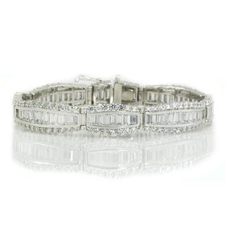 Michael Valitutti Sterling Silver Baguette & Round Cubic Zirconia Bracelet