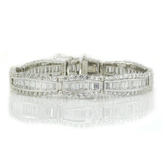 Michael Valitutti Sterling Silver Baguette & Round Cubic Zirconia Bracelet|https://ak1.ostkcdn.com/images/products/16390763/P22741461.jpg?impolicy=medium