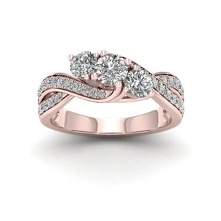 De Couer 1ct TDW Diamond Three Stone Engagement Ring - Pink
