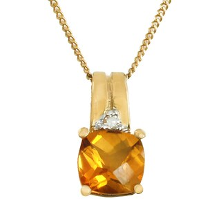 Michael Valitutti 14K Yellow Gold Roll Top Cushion Citrine & Diamond Pendant