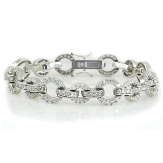 Michael Valitutti Sterling Silver Round Cubic Zirconia Link Bracelet