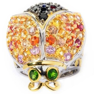 Michael Valitutti Palladium Silver Multi Sapphire, Spinel & Chrome Diopside Ladybug Ring
