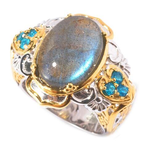 Gems en Vogue Palladium Silver Blue Labradorite & Neon Apatite Ring