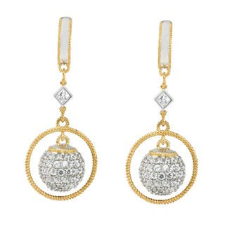 Michael Valitutti Sterling Silver Cubic Zirconia Round Ball Drop Dangle Earrings