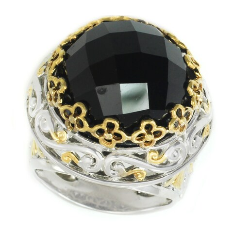 Michael Valitutti Palladium Silver Rose Cut Black Spienl & Blue Sapphire Ring