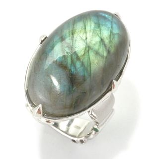 Dallas Prince Sterling Silver Oval Labradorite & Tsavorite North-South Ring