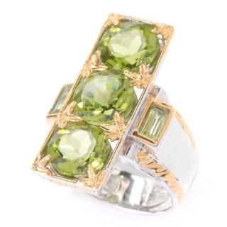Michael Valitutti Palladium Silver Round & Rectangle Shaped Peridot Elongated Ring