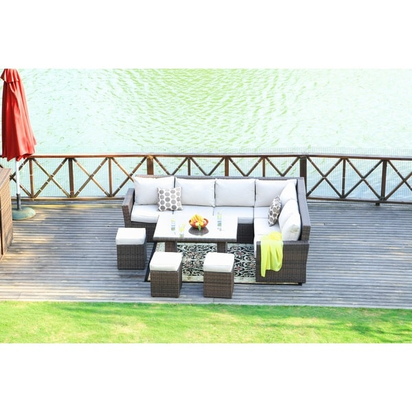Shop Lima Outdoor Rectangle Patio Wicker Dining Table Set With 9