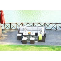 Lima Outdoor Rectangle Patio Wicker Dining Table Set with 9 Seat Chairs and Cushions by Direct Wicker