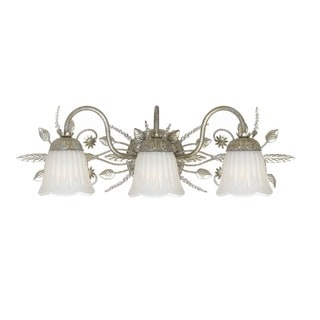 Crystorama Primrose Collection 3-light Silver Leaf/Crystal Bath/Vanity Light