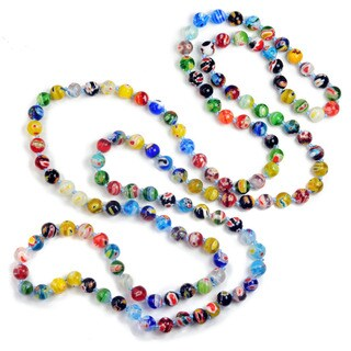 Sweet Romance Long Millefiori Glass Round Knotted Beads Necklace