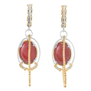 Michael Valitutti Palladium Silver Bamboo Coral Multi Frame Drop Earrings