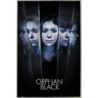 Orphan Black - Faces Poster in a Silver Metal Frame (24x36)