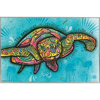 Turtle By Dean Russo Poster in a Silver Metal Frame (36x24)