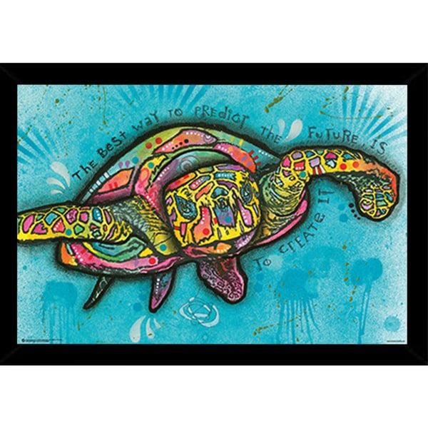 Turtle By Dean Russo Poster in a Black Wood Frame (36x24)