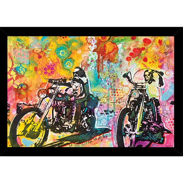 Easy Rider By Dean Russo Poster in a Black Wood Frame (36x24)