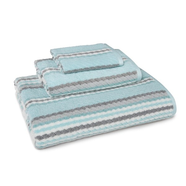 Textured Striped 3-Piece Towel Set in Aqua