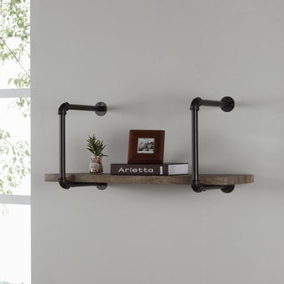 Danya B Industrial Pipe Brown Wall Shelf