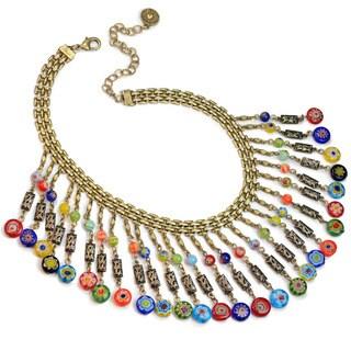 Sweet Romance Boho Millefiori Glass Beaded Fringe Choker Collar Necklace