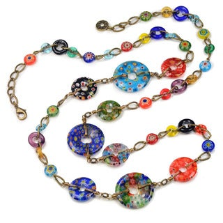 Sweet Romance Long Boho Millefiori Glass Circles Rainbow Modern Layering Necklace