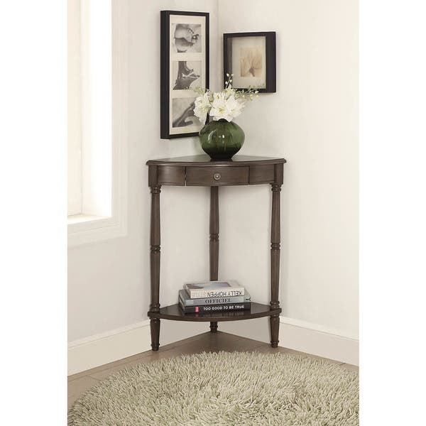 Corrine Corner Table With Drawer In Brushed Gray Overstock 16391081
