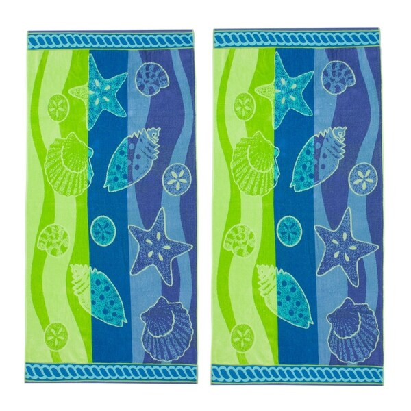Shell Waves 34x68-inch Beach Towels (Set of 2)