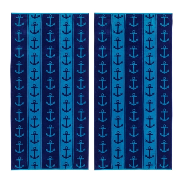 Anchors 34x68-inch Beach Towels (Set of 2)