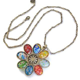 Sweet Romance Boho Millefiori Glass Retro 1960s Flower Pendant Vintage Necklace