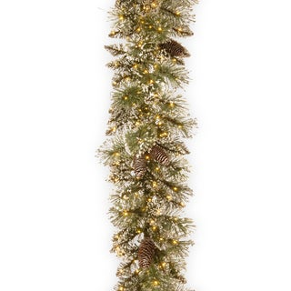 "24"" Glittery Bristle Pine Garland with Infinity(TM) Lights"