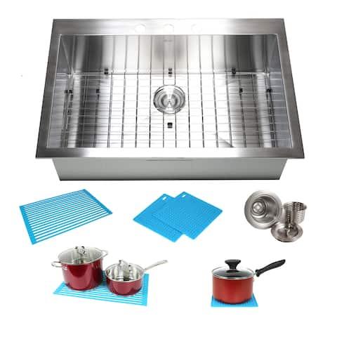 33-inch Stainless Steel Single Bowl Topmount Drop-in Zero Radius Kitchen Sink 16 Gauge Combo Accessories