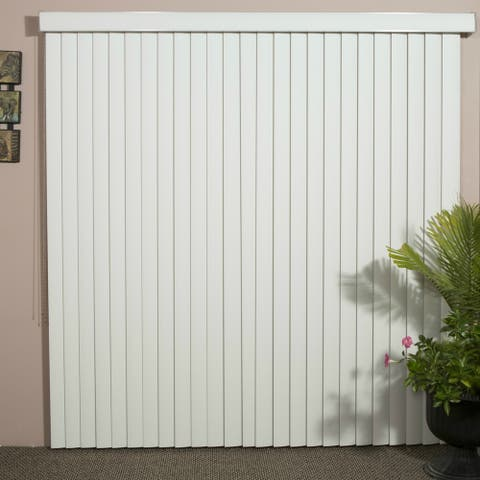 Solid White Smooth Vinyl Veritical Blind, 48 inches Long x 36 to 98 inches Wide