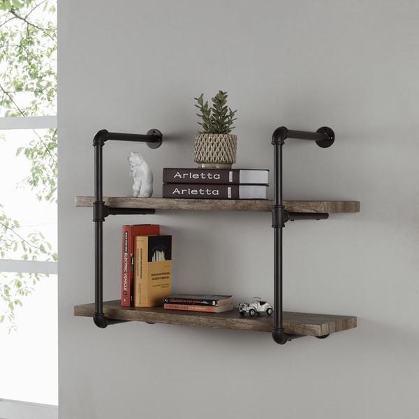 Danya B Two Tier Industrial Pipe Wall Shelf Free