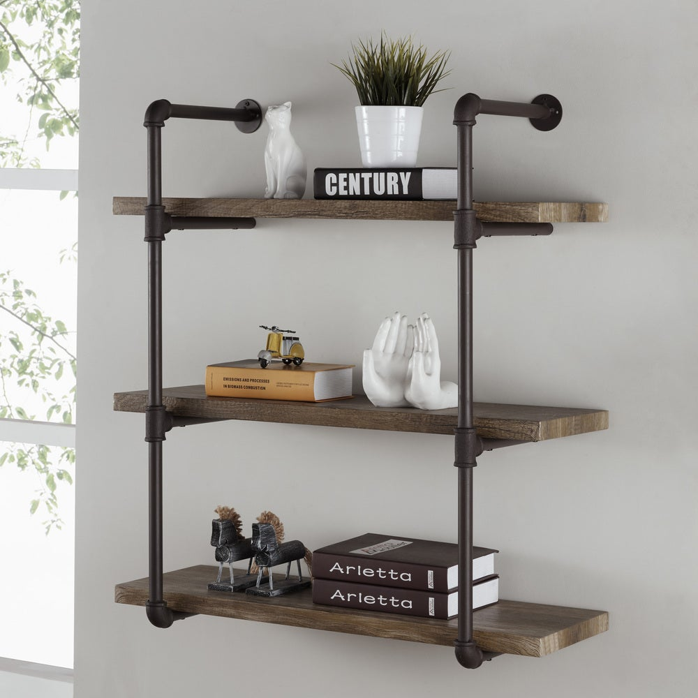 Danya B. 3-tier Faux Wood Industrial Pipe Wall Shelf flyout hero.